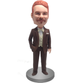 Brown Suit Groomsman Bobblehead