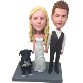 Couple and Dog Custom Bobbles