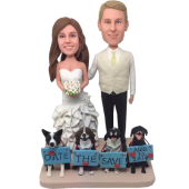 Couple and Dogs Wedding Bobbleheads