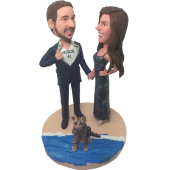 Couple in Beach Bobbleheads (