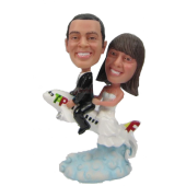 Couple on Plane Bobbleheads
