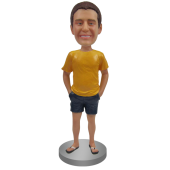 Custom Bobblehead In T-shirt, shorts and Flip Flop