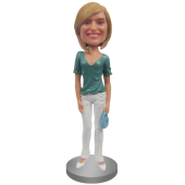 Custom Bobblehead In V-Neck and Skinny Jeans