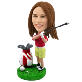Custom Female Golfing Bobble head