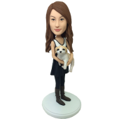 Custom Stylish Girl With Dog Bobblehead