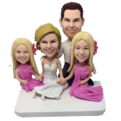 Family Wedding Bobblehead Cake Topper