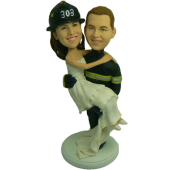 Firefighter Custom Bobblehead Wedding Cake Topper