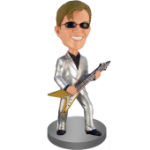 Flying-V Guitar Player Bobble Head