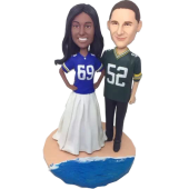 Football Fan Beach Wedding Bobbleheads