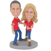 Football Fans Couple Cake Topper