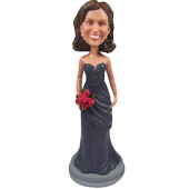 Grey Dress Bridesmaid Bobble Head