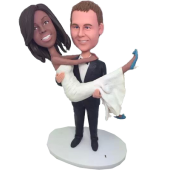 Groom Carrying Bride Wedding Cake Topper