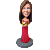 Hot Pink Dress Bridesmaid Bobblehead