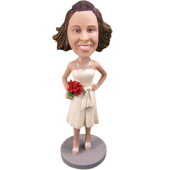 Ivory Dress Bridesmaid Bobble Head