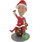 Man on Gift Christmas Bobble