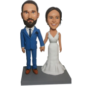 Navy Suit Groom Wedding Bobbleheads