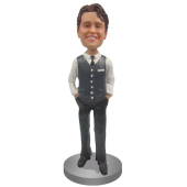 Personalized Bobblehead Doll in Vest and Tie