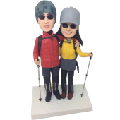 Skiing Couple Bobbleheads