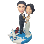 Travel Around The World Wedding Cake Topper