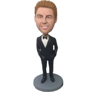 Black Suit Groomsman Bobblehead