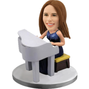 Customized bobblehead Woman Piano