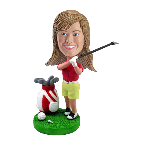 Custom Female Golfing Bobblehead