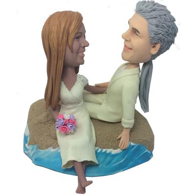 Beach Wedding Couple Bobbleheads