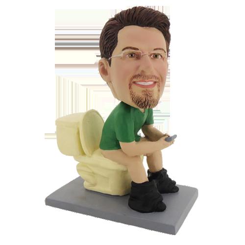 Bobblehead Man on Closestool
