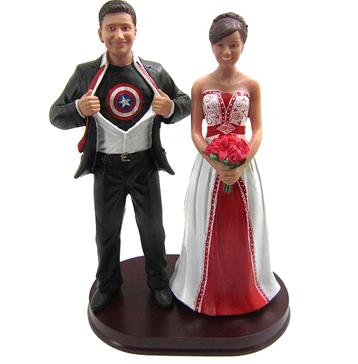 Captain America Theme Wedding Cake Topper