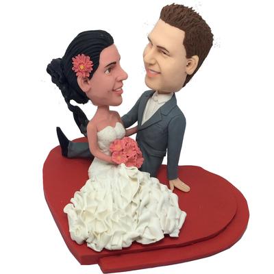 Couple On Heart Base Wedding Bobbleheads