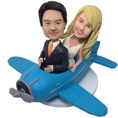 Couple On Plane Wedding Bobbleheads