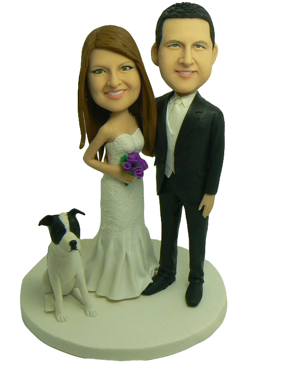 Couple With Pet Cake Topper