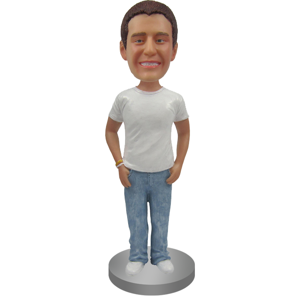Custom Bobblehead in Shirt and Jeans