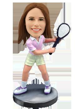 Custom female tennis bobble head