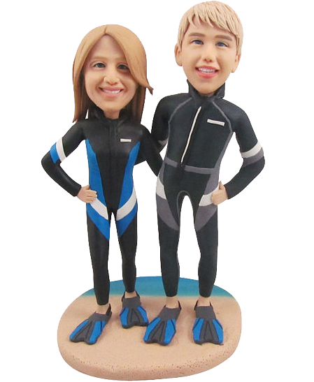 Diving Couple Bobbleheads