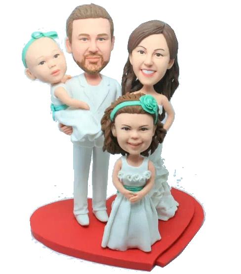 Family Wedding Bobbleheads Cake Topper