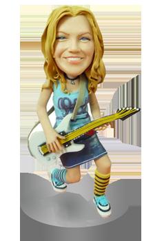 Personalised Female Guitarist Bobblehead