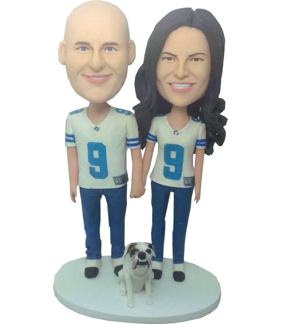 Football Fan Couple Bobbleheads