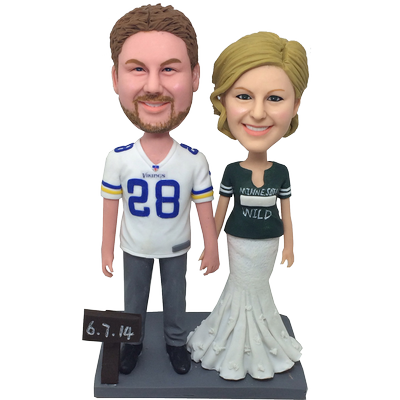 Football Fans Wedding Bobble Heads