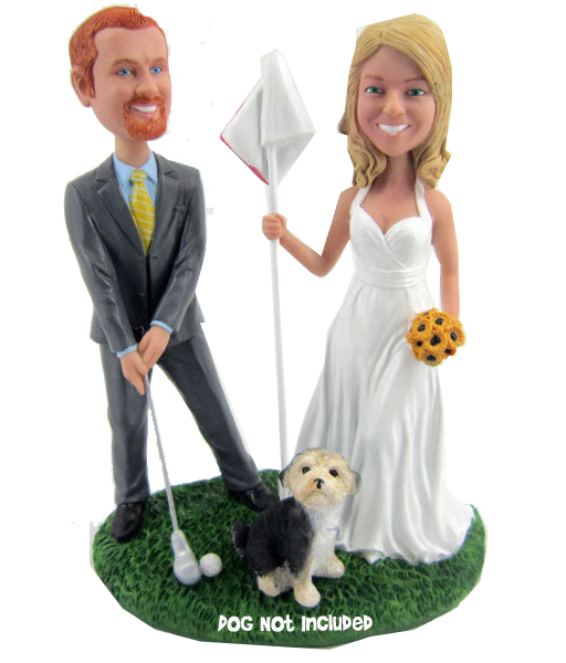 Golfing Bride and Groom Bobbleheads