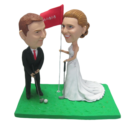 Golfing Couple Cake Toppers