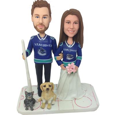 Hockey Couple Wedding Bobbles