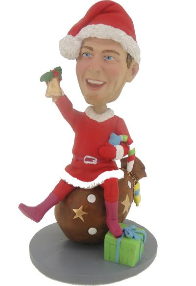 Man on Gift Christmas Bobble