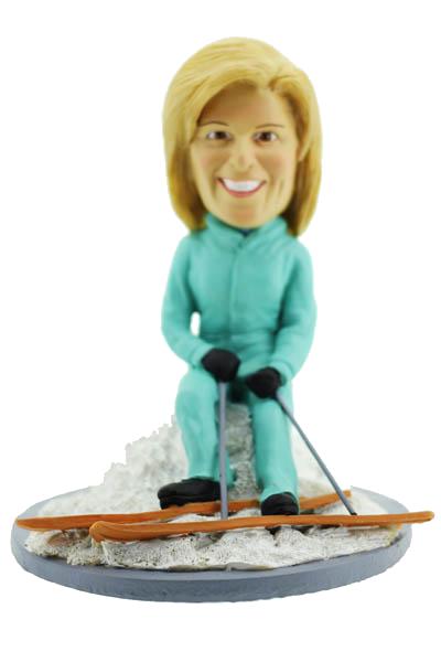 Skiing Woman Bobblehead