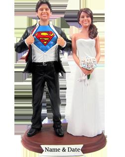 Superman Wedding Cake Topper Bobbleheads