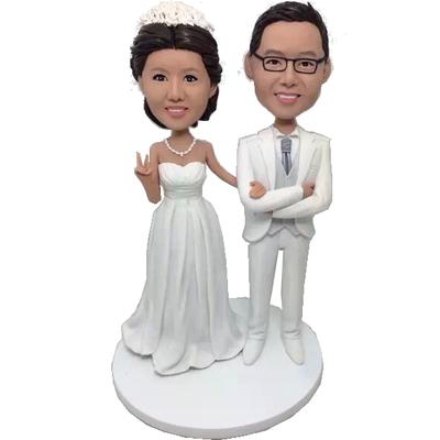 White Suit Wedding Bobbleheads