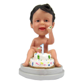 1t Year birthday bobble head cake topper