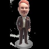 Brown Suit Groomsman Bobblehead