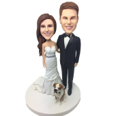 Couple and Dog Wedding Cake Topper