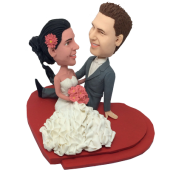 Couple On Heart Base Wedding Bobbleheads